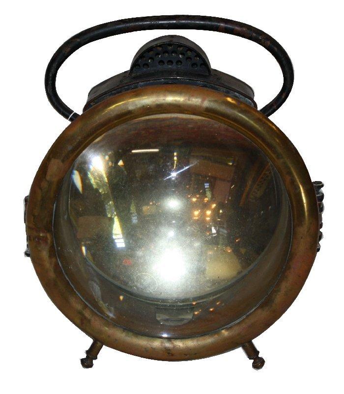 Antique Amerian Solarclipse carbide head lamp in brass
