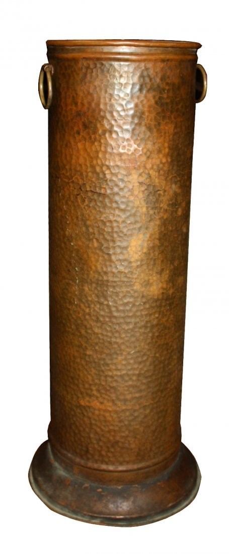 Hammered copper umbrella stand with ring handles