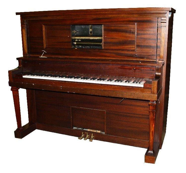 Farny Wurlitzer Piano Co mahogany player piano