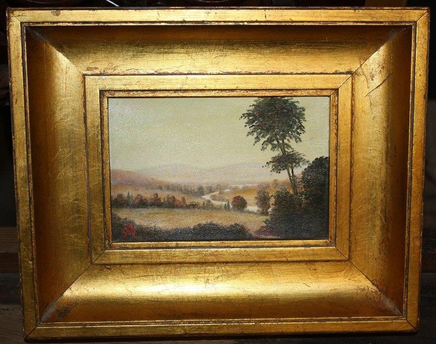 """Oil on canvas """"Landscape"""" signed l/l AS (Amos Shontz)"""