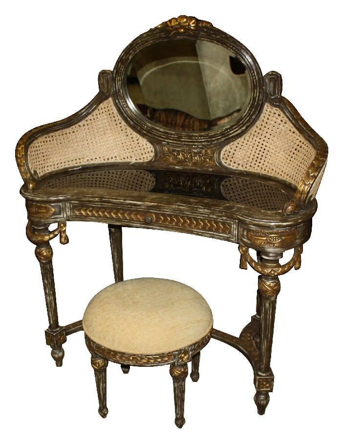 Louis XVI style painted vanity with curved caned back,