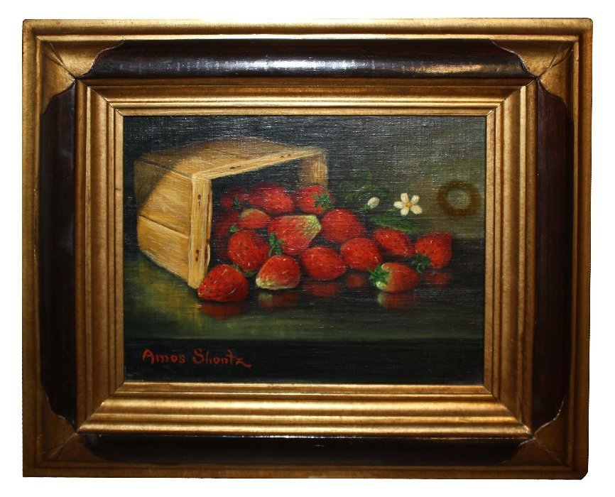 Oil on board stillife with strawberries by Amos Shontz
