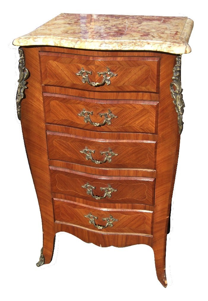 Louis XV bronze mounted chest with marble top