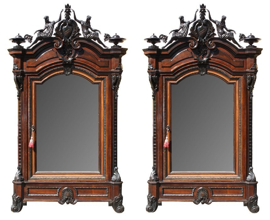 Pair of French Napoleon III armoires in rosewood
