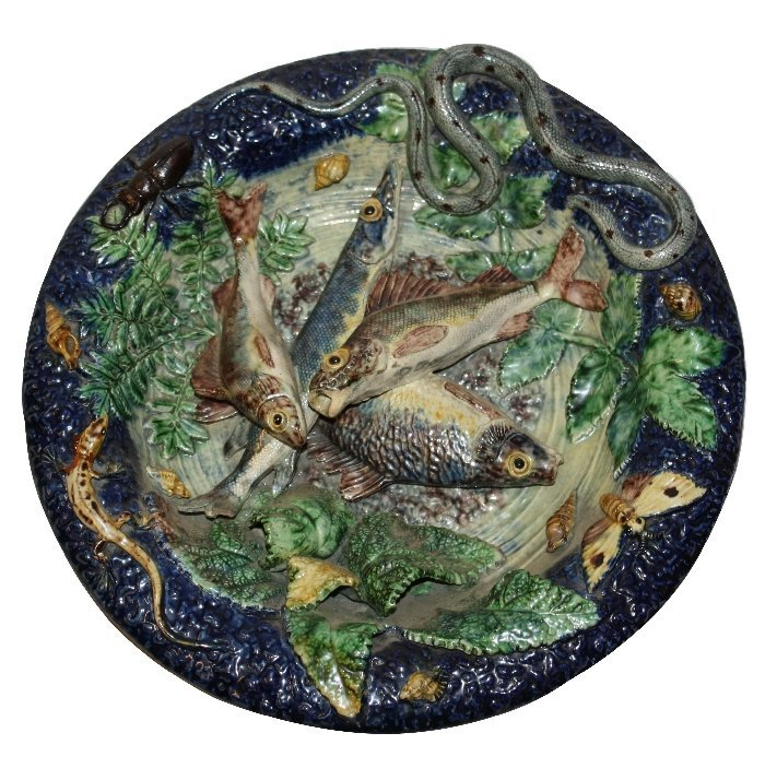 Nautralistic Majolica Palissyware style plate with fish