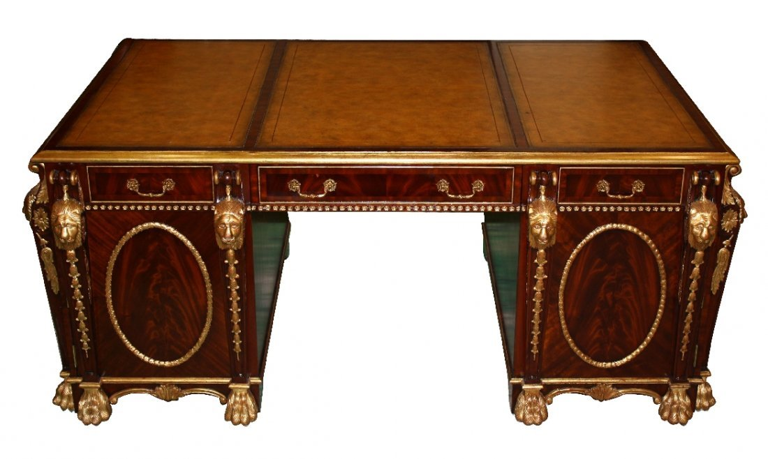 Maitland Smith mahogany partners desk with carved lions