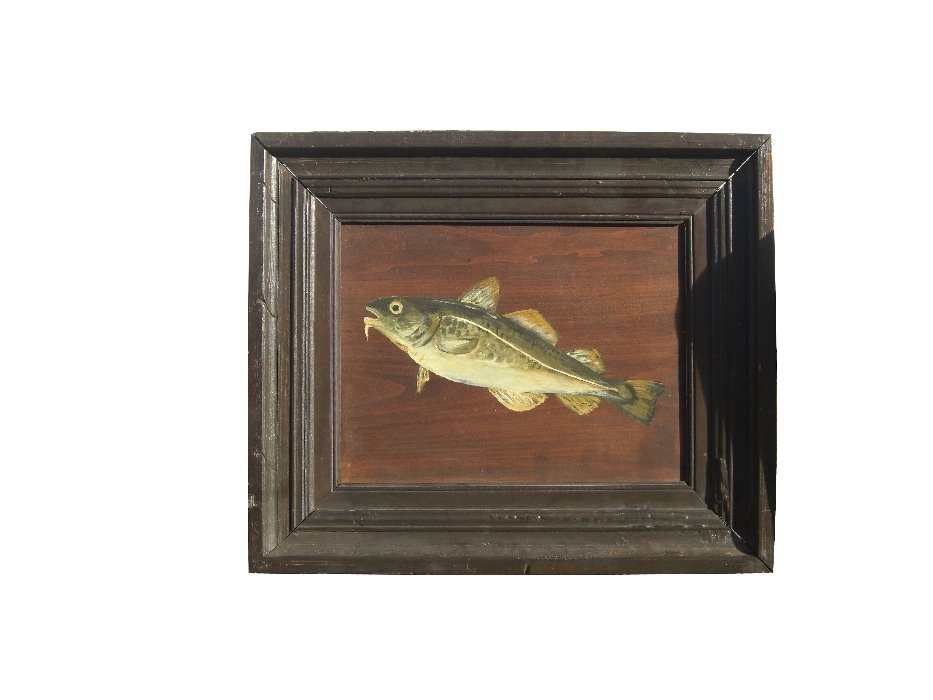 French hand painted Cod fish on board