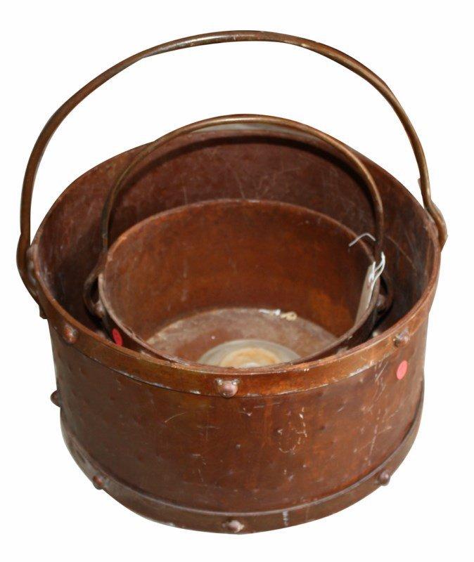 Lot of 2 copper buckets