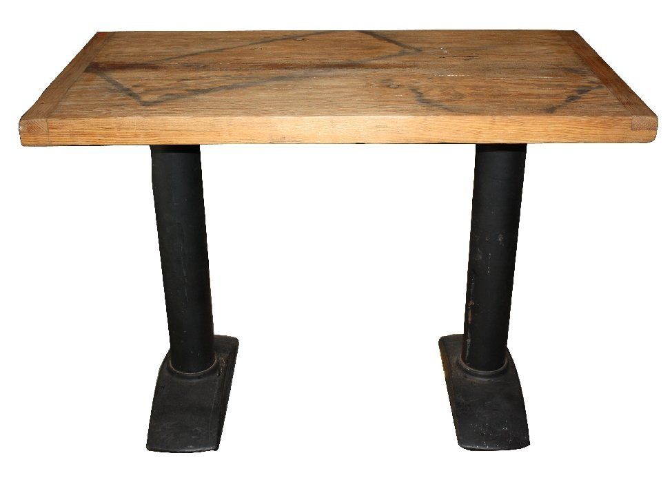 Industrial table with iron base & reclaimed wood top