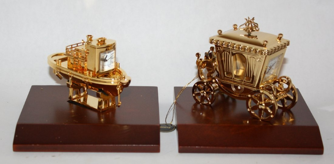 Lot of 2 Bulova miniature brass figurines: Tugboat & Co