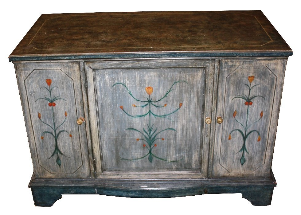 Painted credenza with flowers