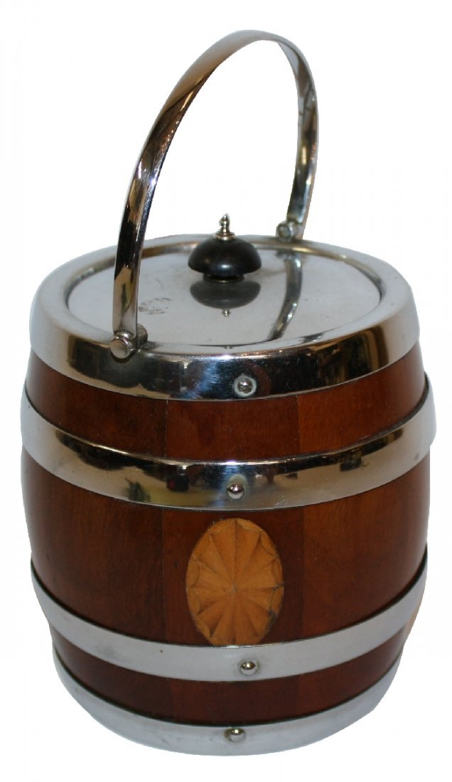 English biscuit barrel inlaid wood