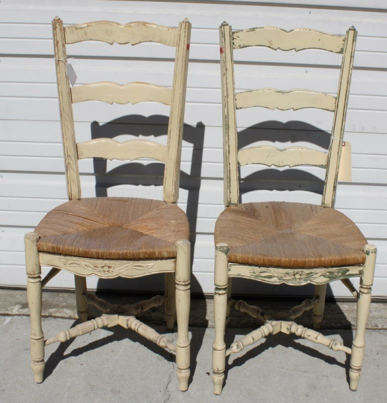 Pair of French Provincial painted ladder back chairs