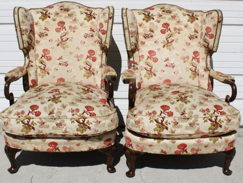 Pair of English Queen Anne fireside armchairs