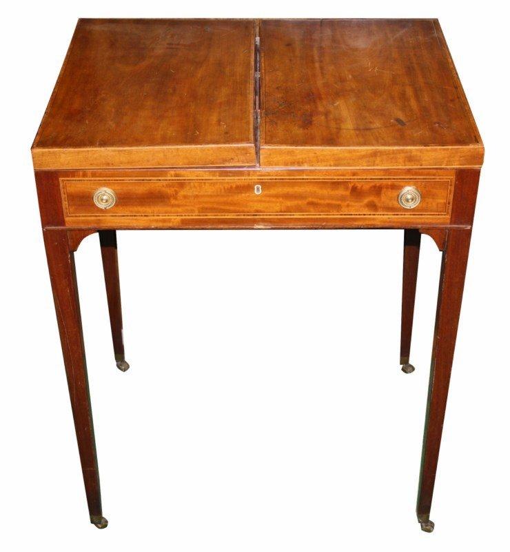 English inlaid mahogany flip top sewing cabinet