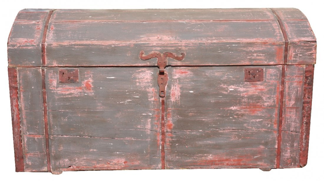 Antique European painted pine dome top steamer trunk
