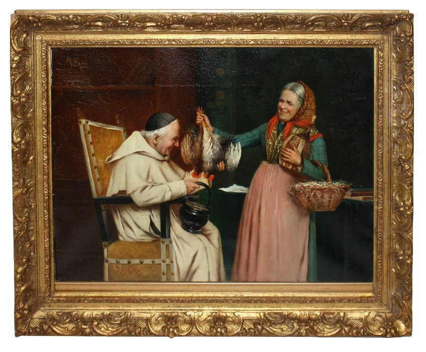 A. Sani signed oil on canvas-woman offering to the Pope