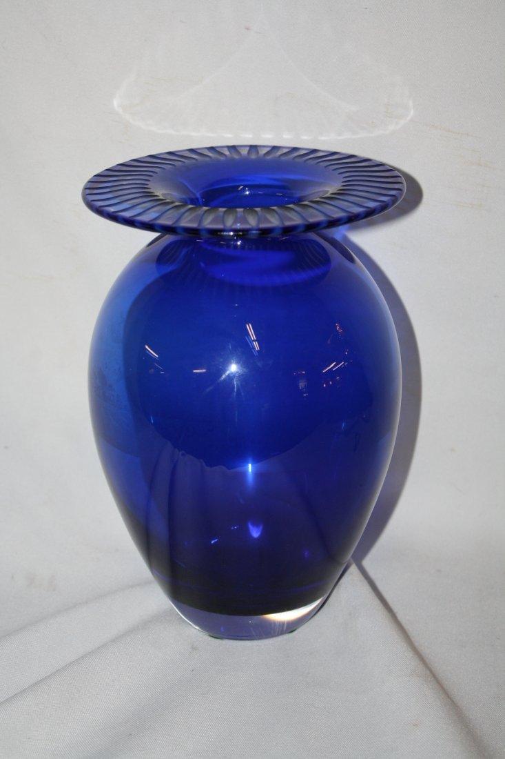 Tiffany & Co cobalt crystal vase