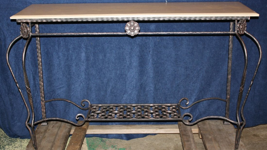 Iron console with travertine marble