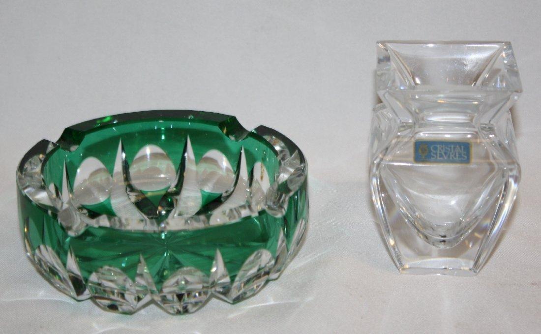 Crystal St. Louis crystal ashtray & Sevres crystal bud