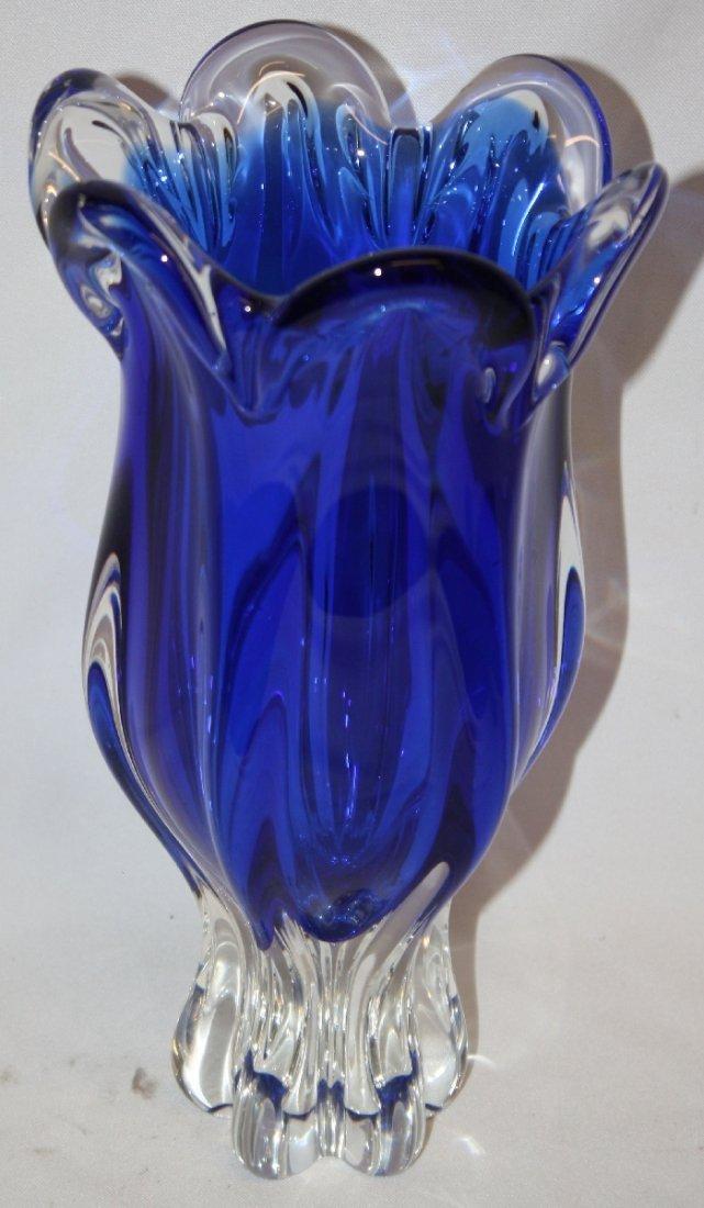 Czech blue & clear art glass tulip vase