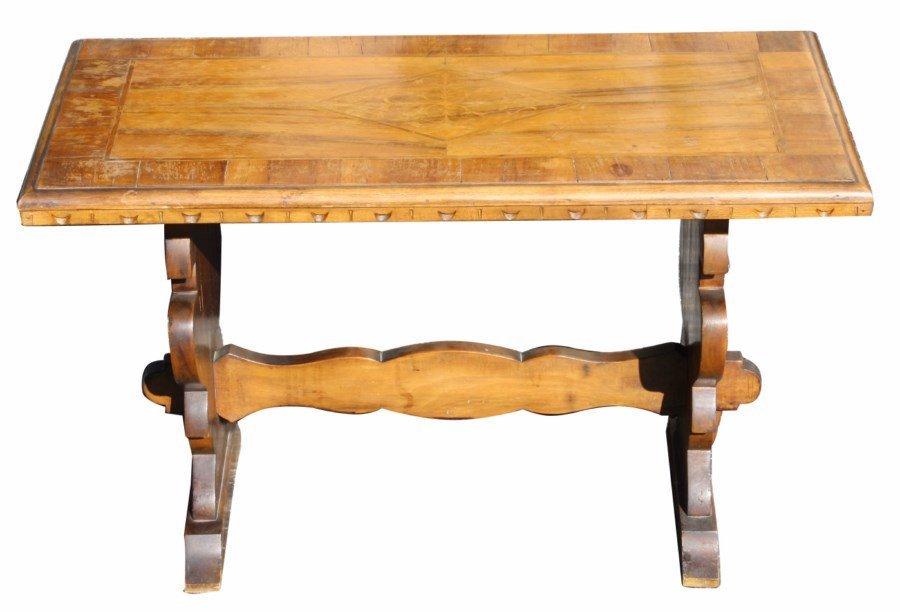 Italian trestle base inlaid walnut coffee table
