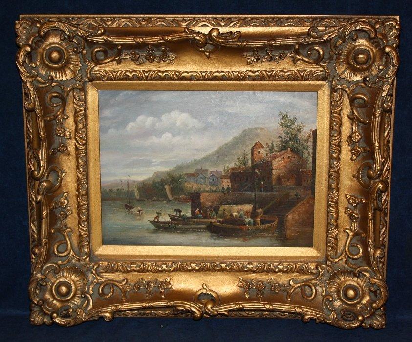 Oil on canvas- seaside village signed l/r Kurtz