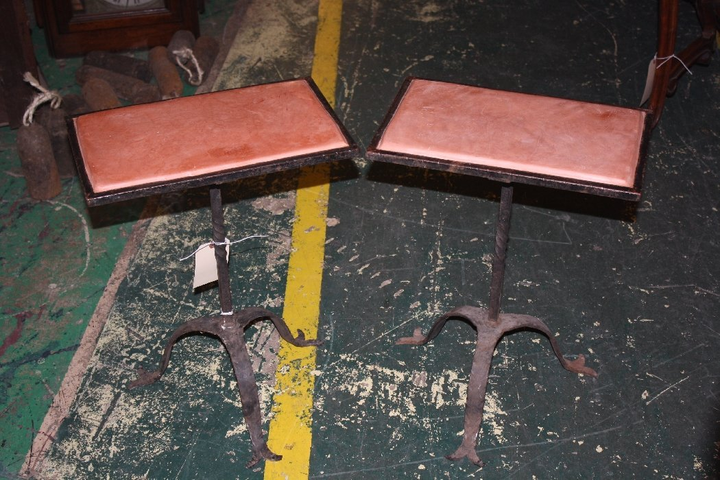 Lot of 2 Spanish forged iron side tables with tile tops