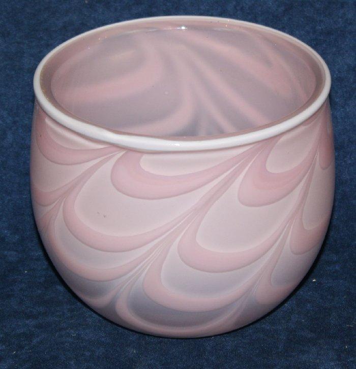 Kosta Boda pink swirl vase