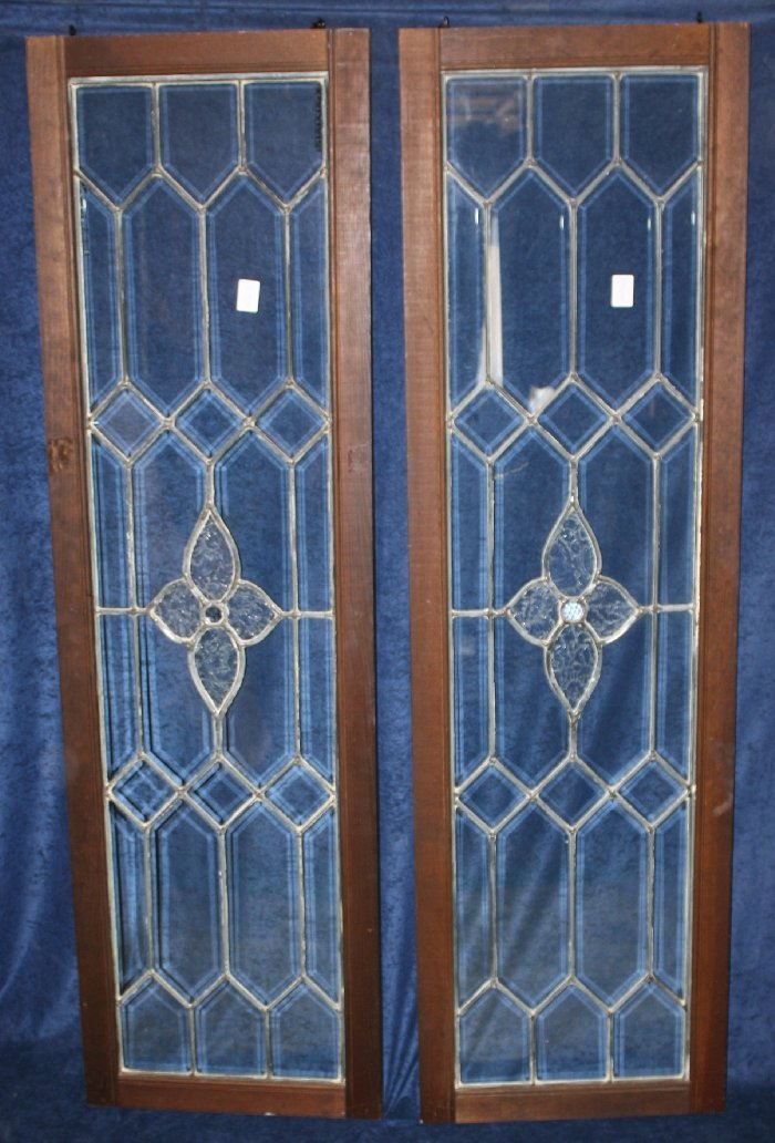 Pair of leaded glass sidelights