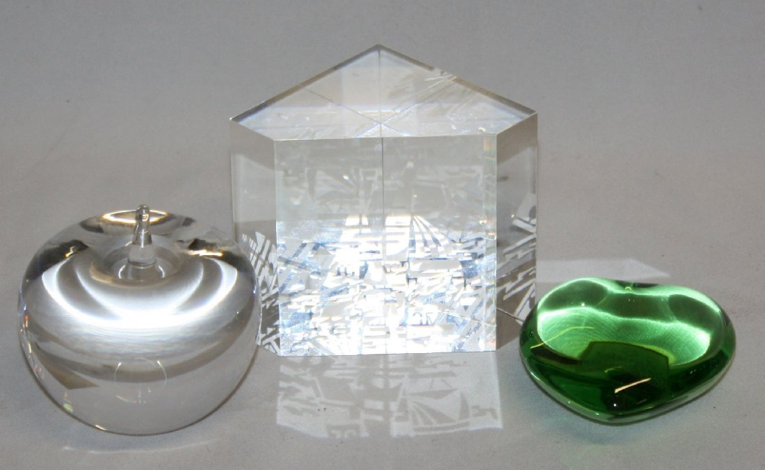Steuben, Baccarat, and Tiffany & Co. paperweight