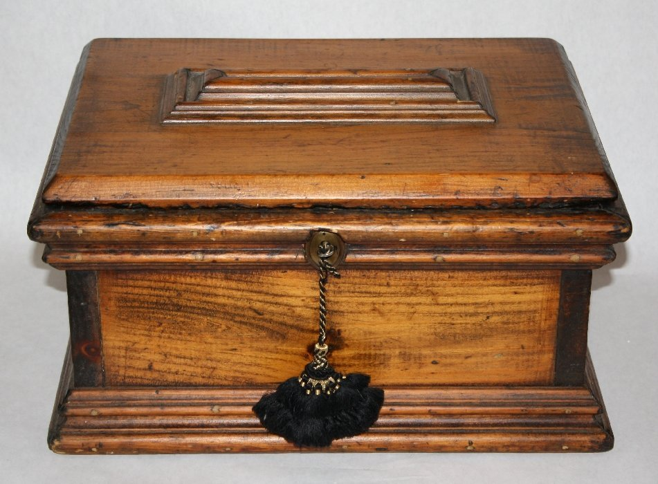 Antique wooden bible box with brass handles
