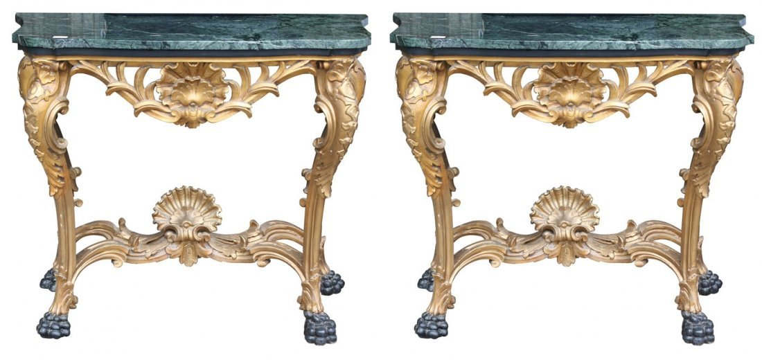 Pair of George II period carved wood and gilded console