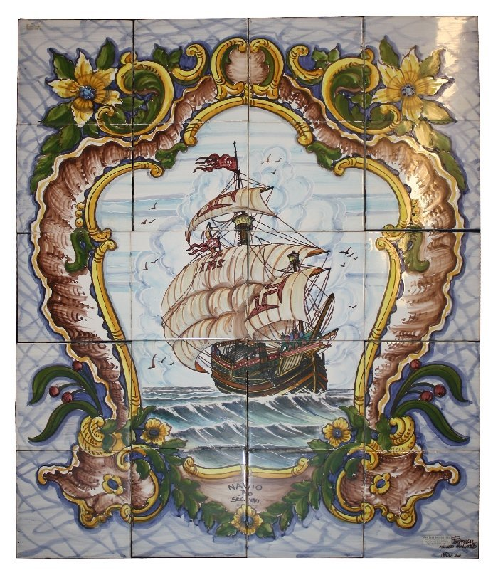 Hand painted Portugese tiles depicting a sailing ship