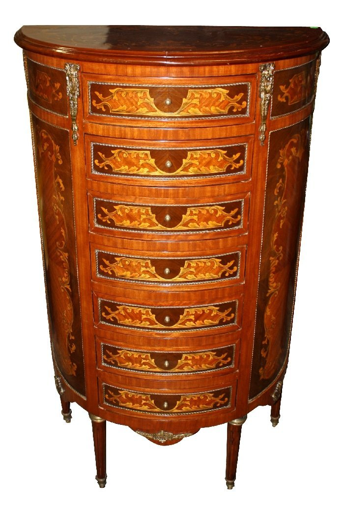 Demi-lune semainier chest with inlaid & painted