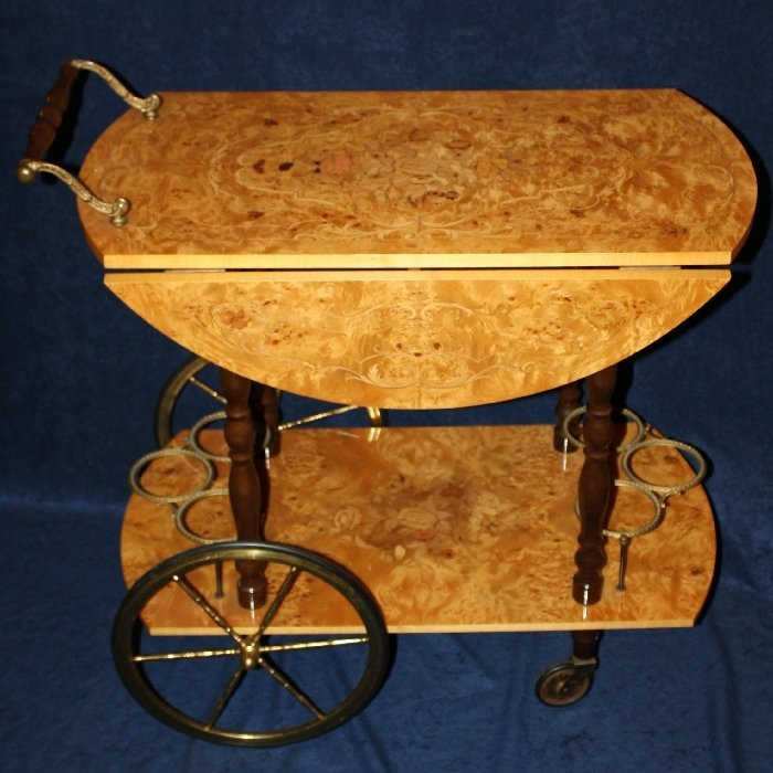 Italian marquetry burl bar cart with drop sides