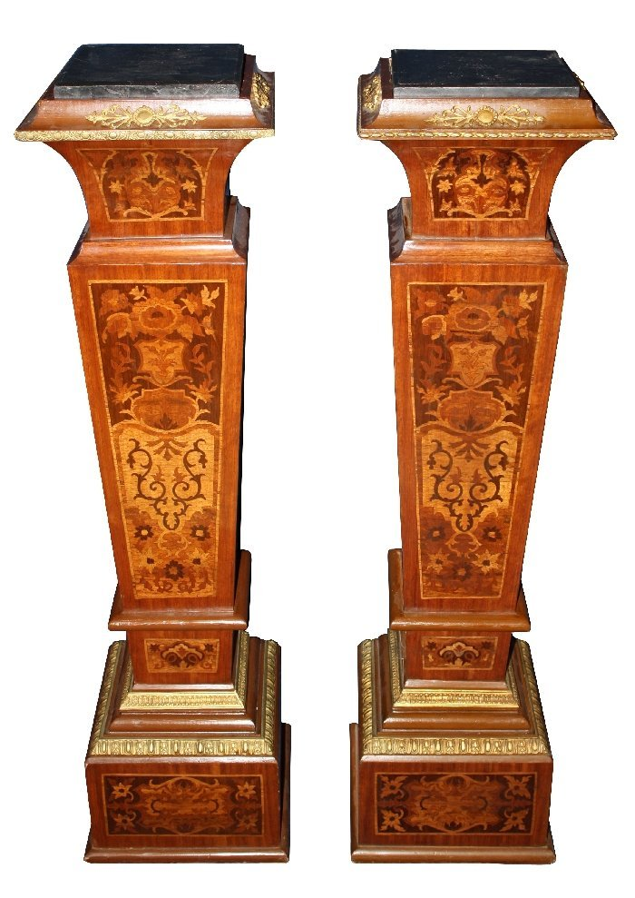 Pair of marquetry tapered pedestals with marble tops