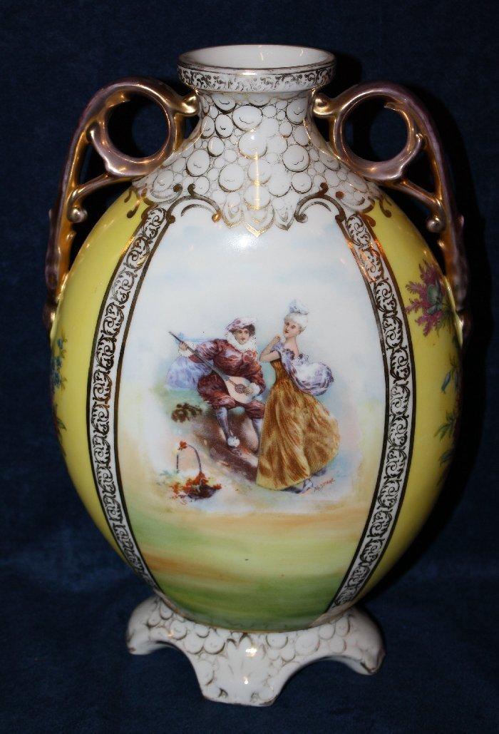 Austrian hand painted porcelain double handled urn