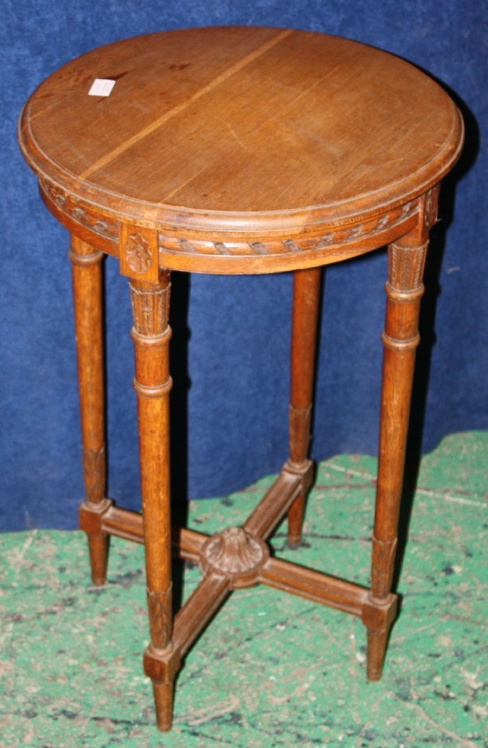 French Louis XVI carved oak plant stand