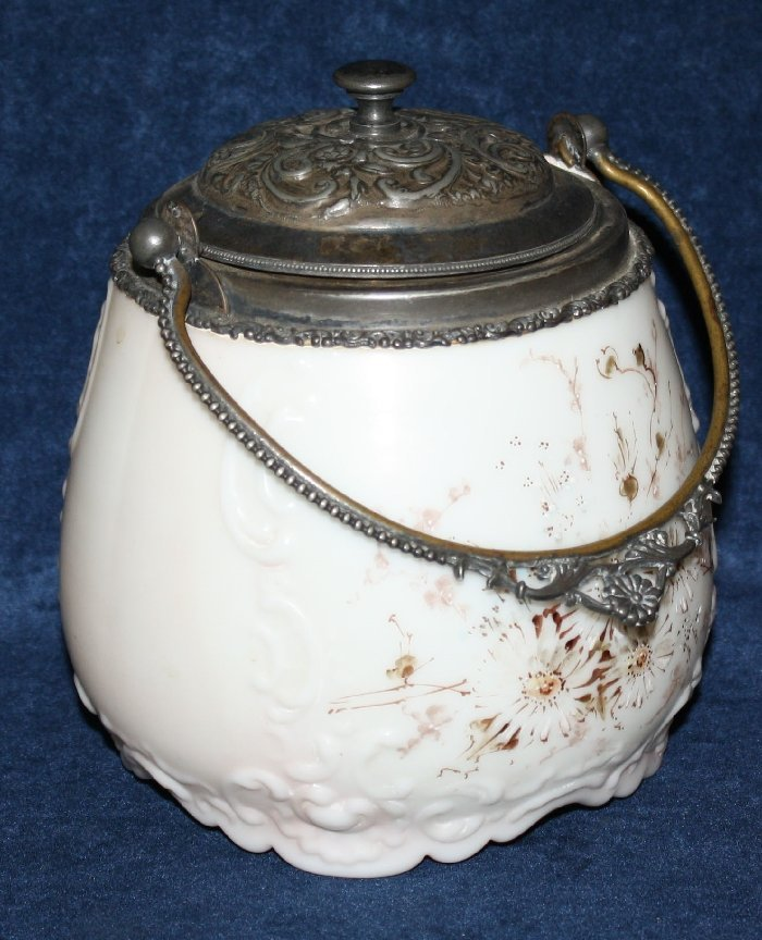 Painted milk glass biscuit barrel with handle