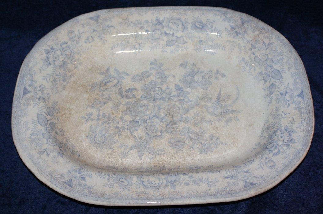 English blue & white porcelain meat tray
