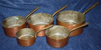 Antique French nest of 5 copper pots