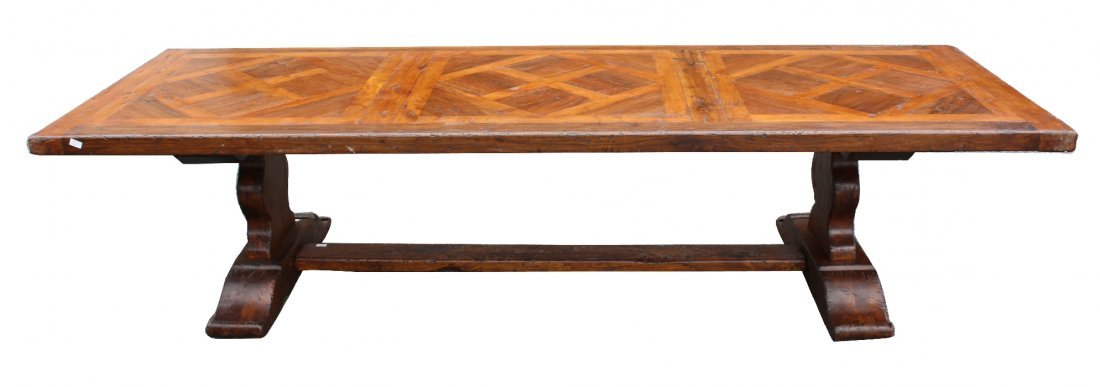 French rustic walnut trestle table with parquet top