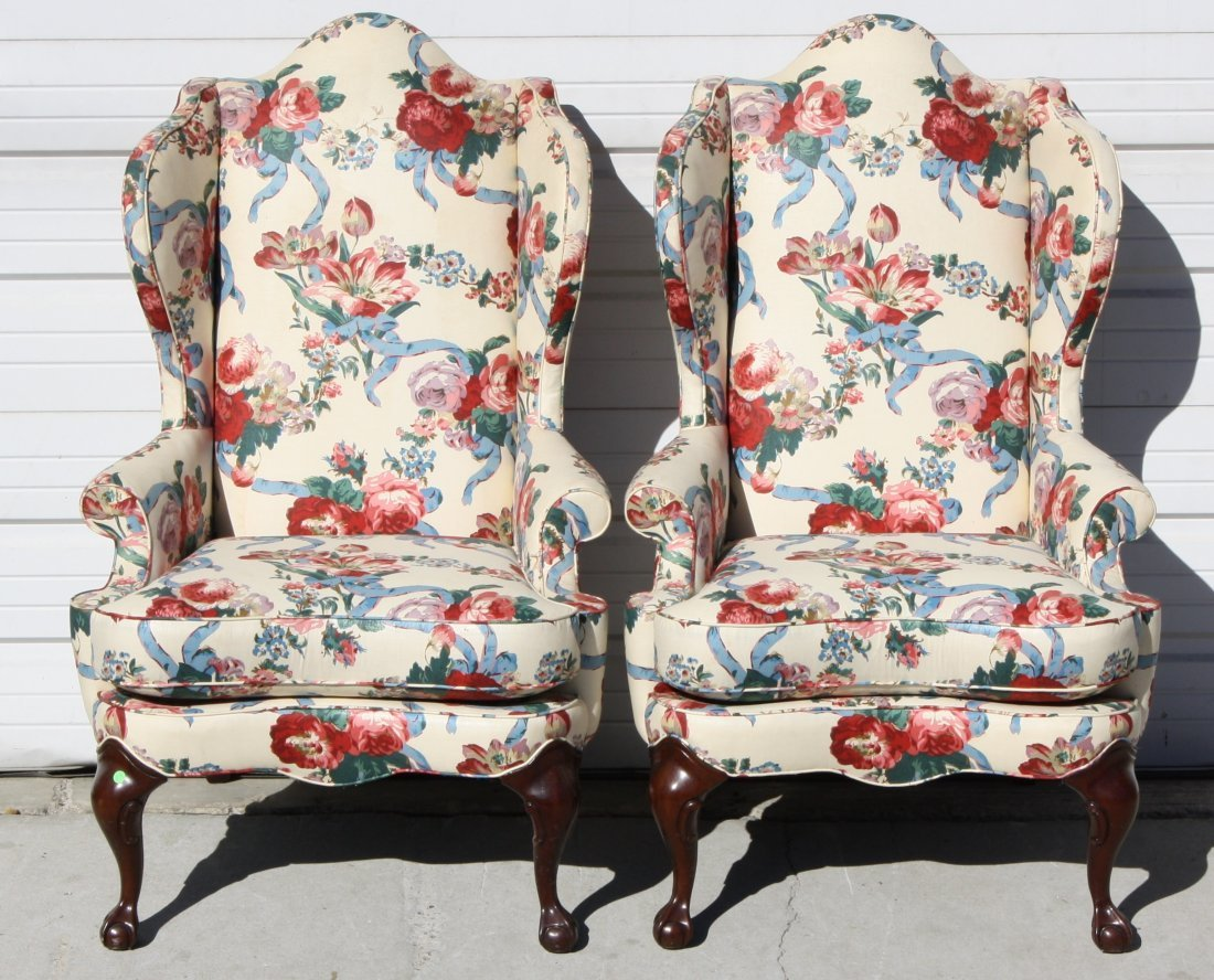 Pair Of Drexel Heritage Wingback Chairs