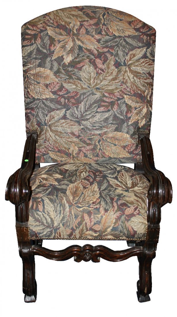 French carved walnut Louis XIII armchair