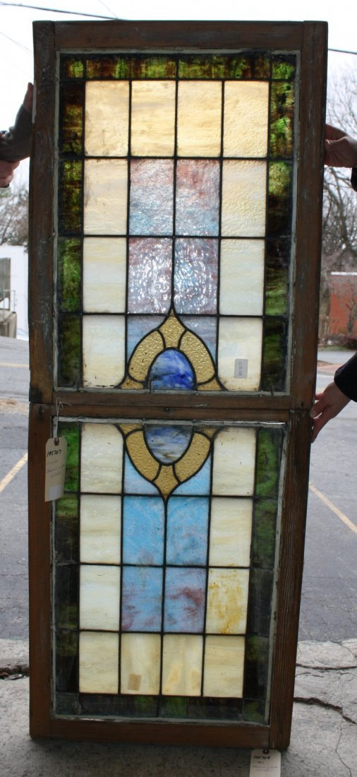 Antique American double hung stained glass window