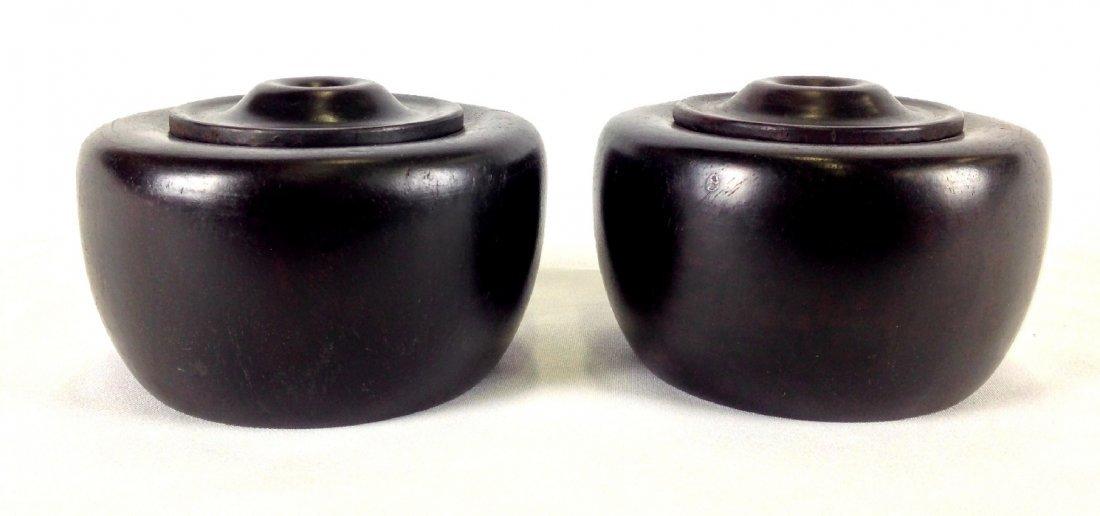 Pair of Chinese Zitan wood carved lidded jars