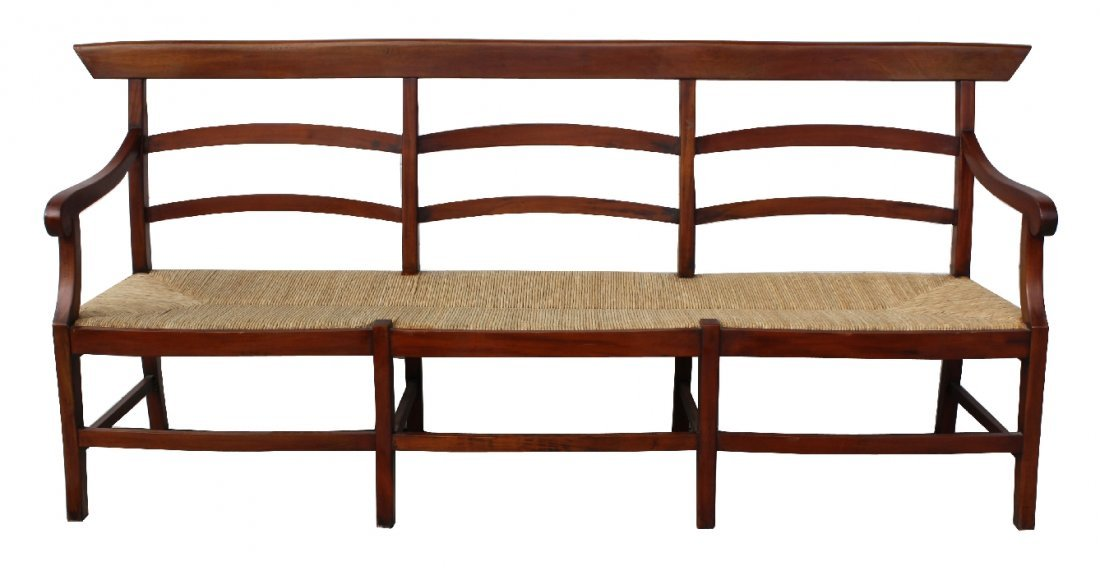 Mahogany ladder back rush seat bench