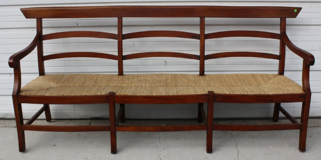 Mahogany ladder back rush seat bench - 2