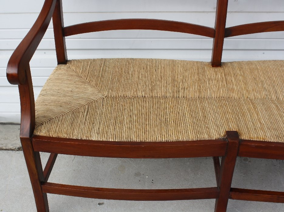 Mahogany ladder back rush seat bench - 4